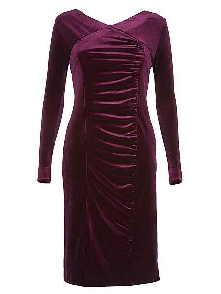 Long sleeved v neck velvet dress