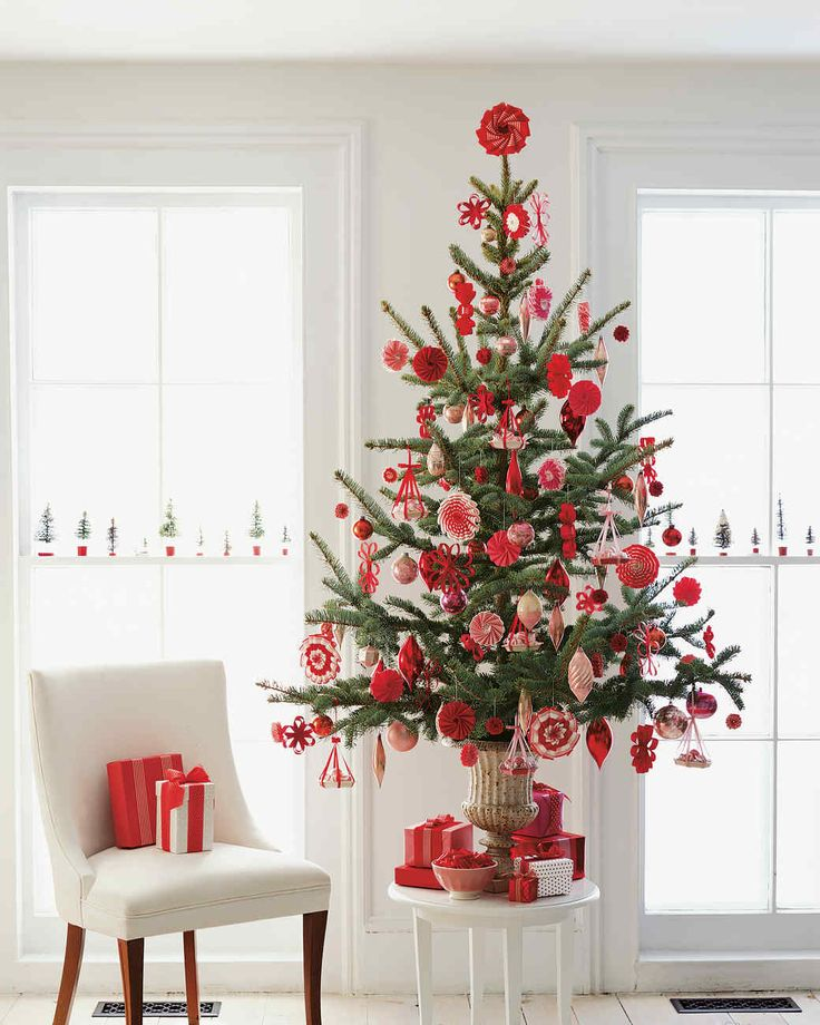 A Red and White Tree Creative Christmas Tree Decorating Ideas | Martha Stewart Living — Consider a monochromatic scheme. For this tree, we used only red and white ornaments to create a festive display.