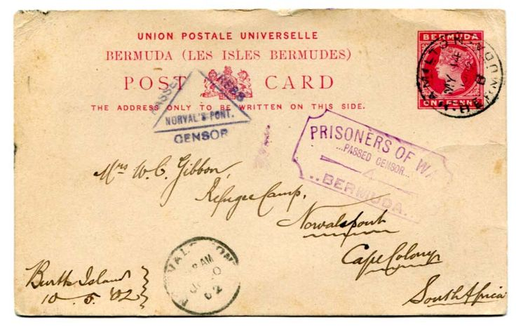 "BERMUDA (BOER WAR) 1902 censored 1d stationery card addressed to South Africa from POW Burtts Island cancelled ""HAMILTON"" c.d.s. MY 14 02 ""PRISONERS OF WAR/PASSED CENSOR/4/BERMUDA"" struck in violet on the front."