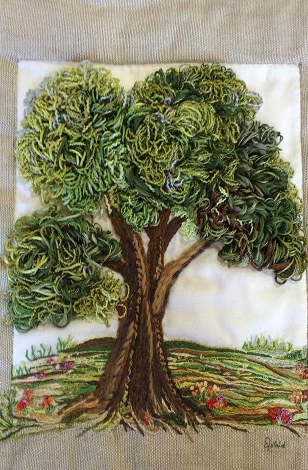 textured embroidery tree