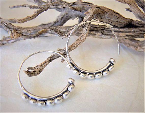Sterling silver earrings. Ethnic Jewellery. Silver Jewellery.