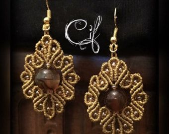 Parure macramè collana orecchini neri con perla di CifCreations