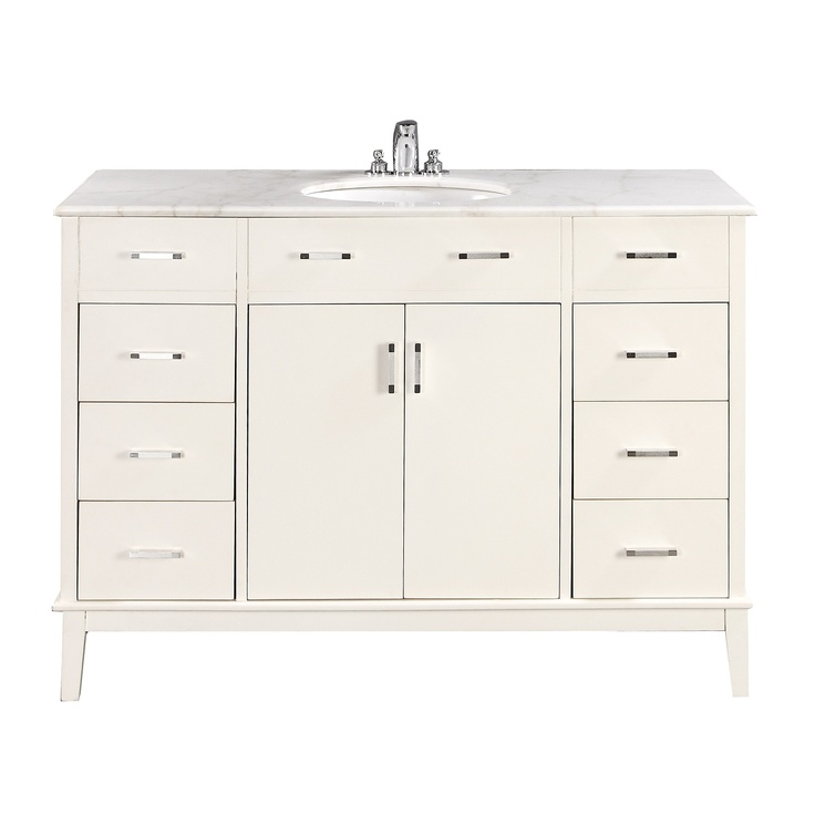 "$899.99 The Simpli Home Urban Loft 48"" Vanity is defined by its clean lines and contemporary look. This beautiful assembled vanity includes a marble top and an oval white vitreous china sink."