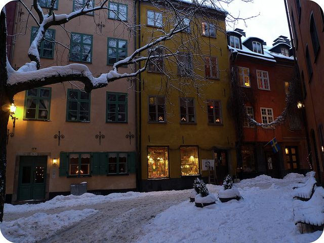 Stockholm old town in winter