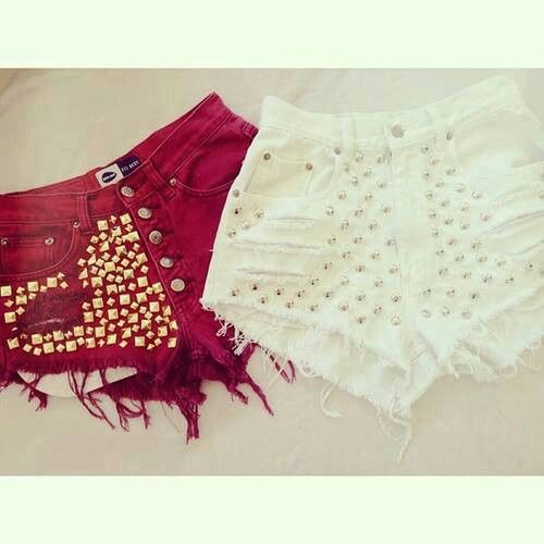 Short: Studded Shorts, Fashion, Short Shorts, Red, Style, Clothes, Outfit, Bottoms, Amazing Shorts