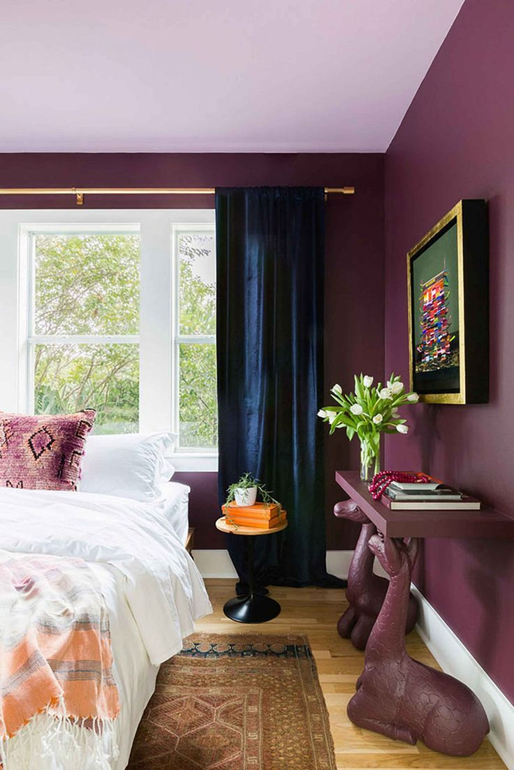 Modern Maximalism In Support Of Colored Walls Emily Henderson Home Decor Bedroom Burgundy Bedroom Bedroom Colors