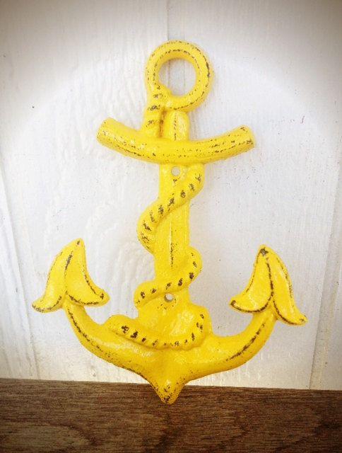 BOLD sunny canary yellow NAUTICAL anchor hook // wall coat hook // sailor beach house decor // SHABBY cottage chic // cast iron