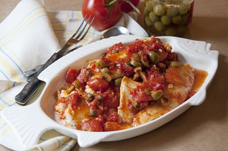 Tilapia with Tomato, Olive & Caper Sauce - Tomatoes, garlic, olives ...