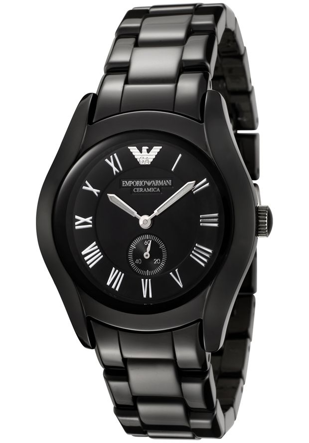 Price:$264.78 #watches Emporio Armani AR1402, This classic women's timepiece provides a dressy look with its black ceramic case and bracelet.