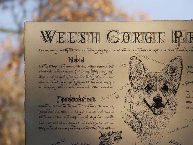 Antique styled dog standard - Welsh Corgi Pembroke by Creativedoglover on Etsy