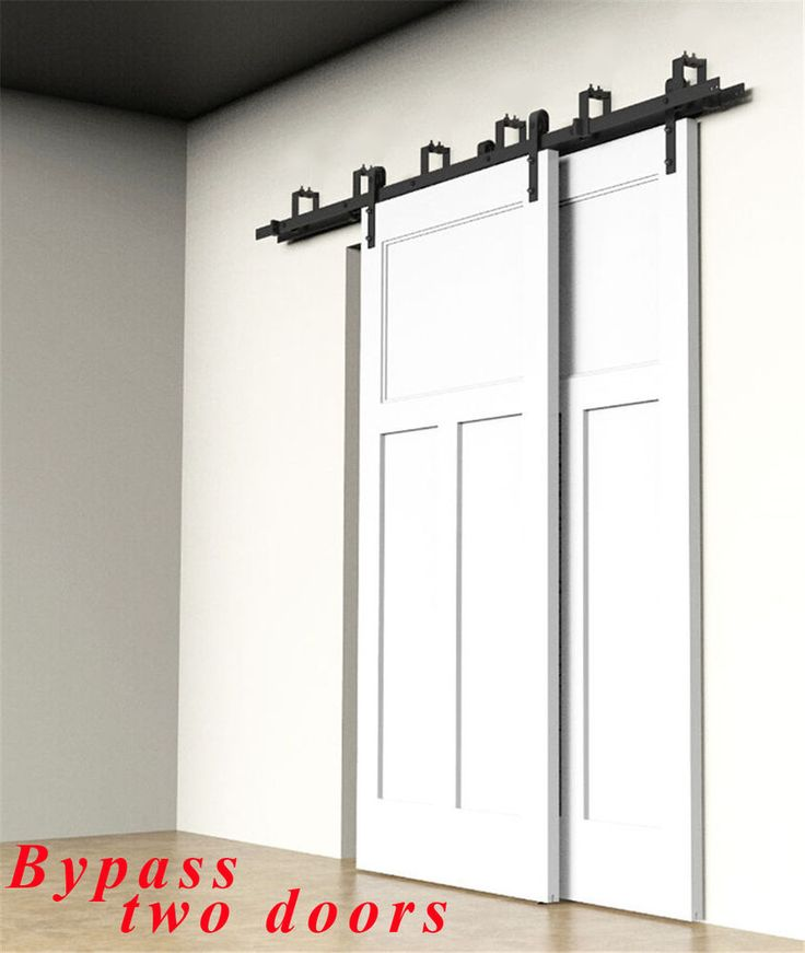 8ft Byp Sliding Barn Double Door Hardware Kit Hanger Bracket Overlap And