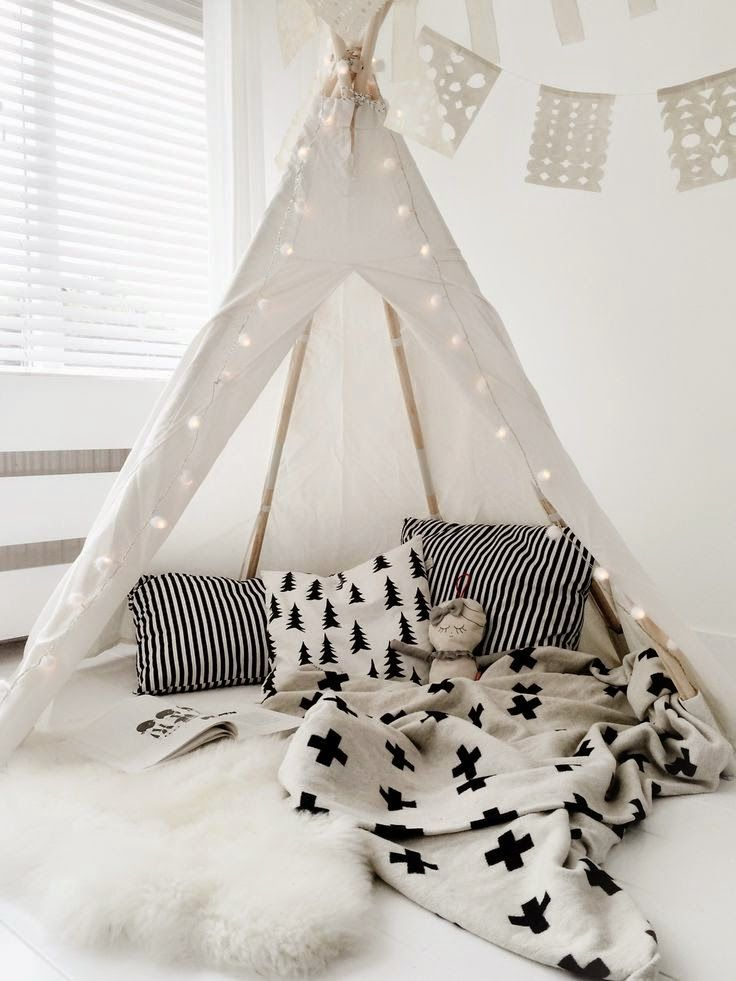patterns, textures + lantern lights - all the essentials for a teepee.