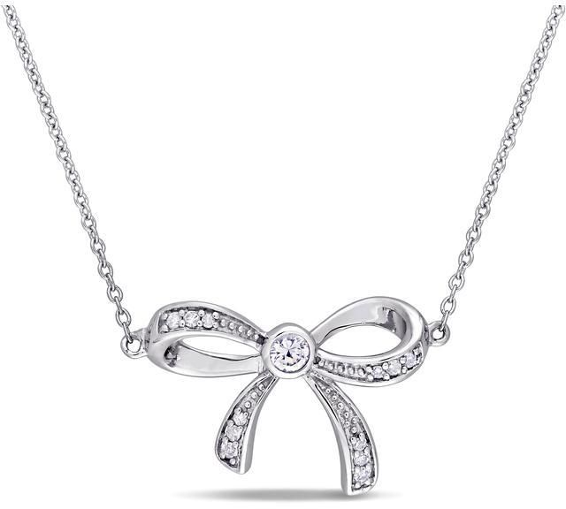 Ice Laura Ashley White Sapphire and Diamond Accent Bow Necklace in 10k White Gold