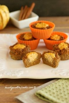 Sour Cream Pumpkin Butter Muffins are spiced pumpkin muffins with a pumpkin butter sour cream filling. These are grain free, and have a low carb option. - 3.1 net carbs