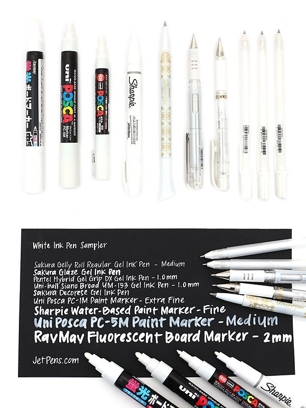 White ink pens are a valuable tool for artists, crafters, designers, and more, due to their versatility and wide range of applicable uses. With this White Ink Pen Sampler, you can try out nine of our best-selling white pens to see which works best for your specific needs!