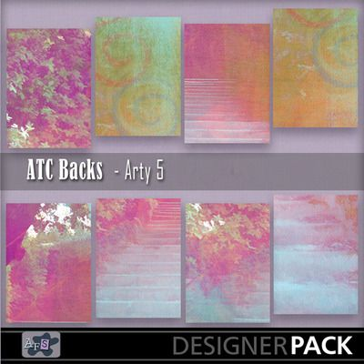 For ATC lovers. 8 Backgrounds ready sized for you. [2.5 x 3.5 inches] NB These are NOT fullsized scrapbook papers. This set are bright pinks...