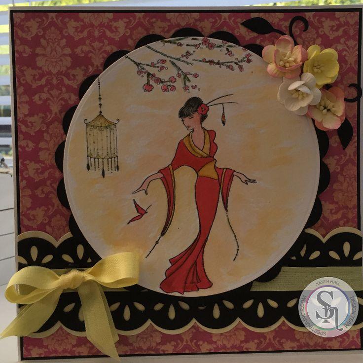 Judith Hall - Kimono Butterfly Silk stamp, Kimono papers, Spectrum Aqua pens - #crafterscompanion #spectrumaqua