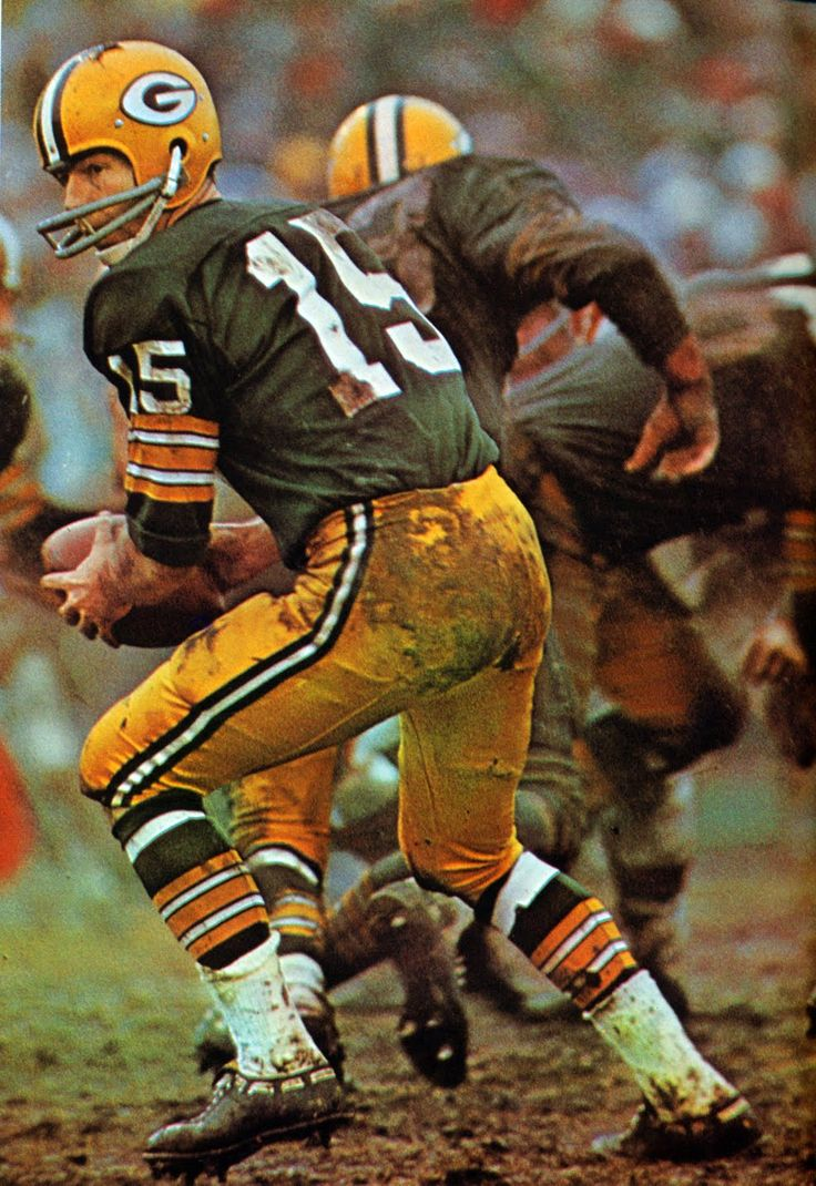 Bart Starr (#15). Green Bay Packers vs. Cleveland Browns. 1965.                                                                                                                                                     More
