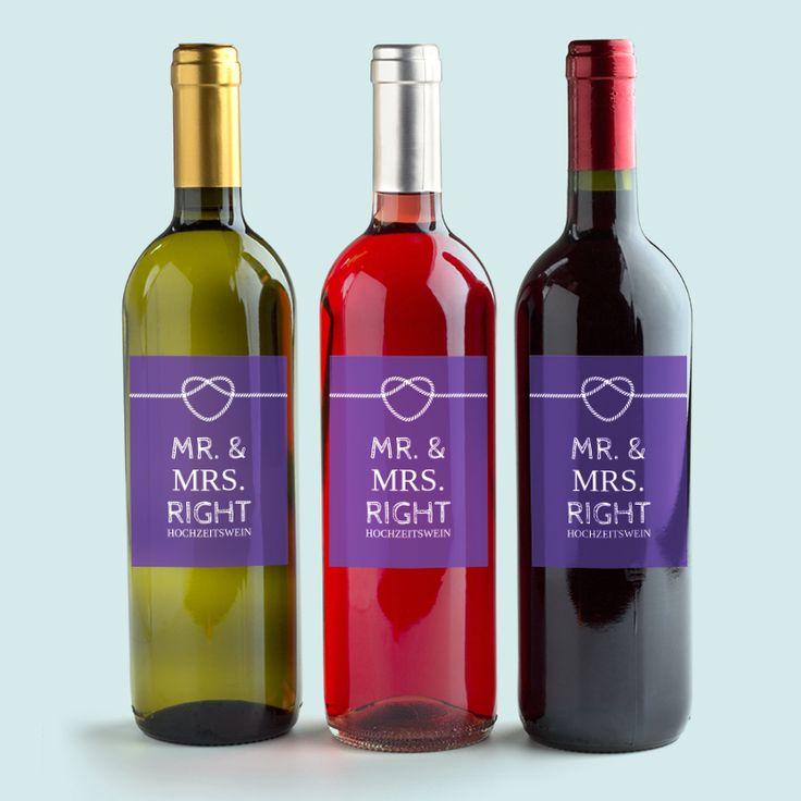 Weinkleber passend zu den Hochzeitseinladungen - Verknüpft  Hochzeits-Flaschenaufkleber