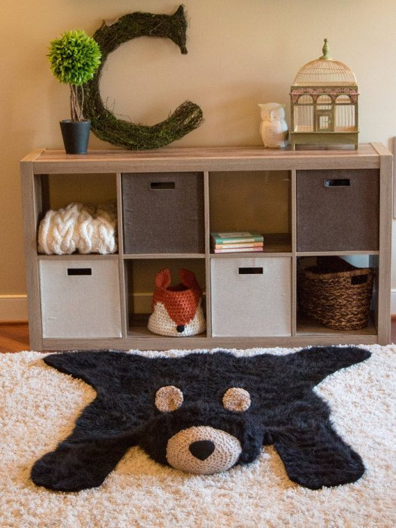 Black Bear Rug / Faux Bear Rug / woodland nursery / by ClaraLoo