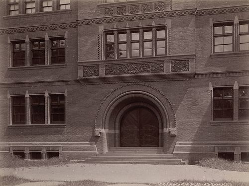Sever Hall, Harvard College (Detail of Entrance) - HHR - A. D. White Architectural Photographs, Cornell University Library
