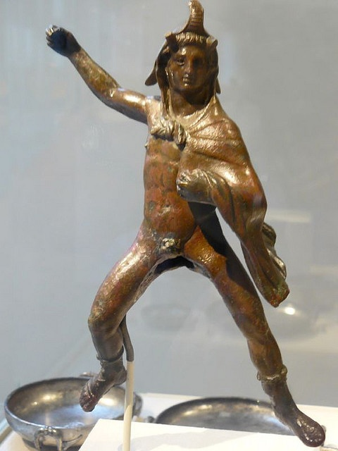 Bronze stauette of rider (possibly Alexander the Great) wearing an elephant skin Greek Hellenistic 3rd century BCE from Athribis in the Nile Delta Egypt