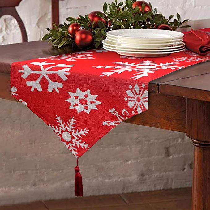 Christmas Table Runner Red Embroidered White Snowflake For Dining Thanksgiving Cotton Christmas Table Runner Christmas Table Cloth Christmas Table Decorations