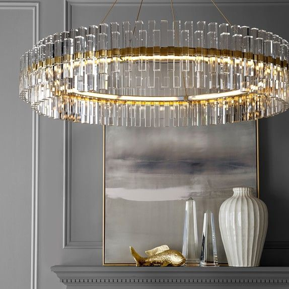 Phoebe 48 Round Crystal Chandelier Antique Brass Williams Sonoma Round Crystal Chandelier Led Crystal Chandelier Chandelier