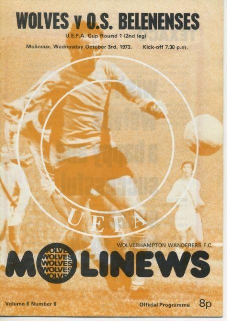 WOLVES v Belenenses UEFA Cup Rd 1 (2nd leg) October 3 1973
