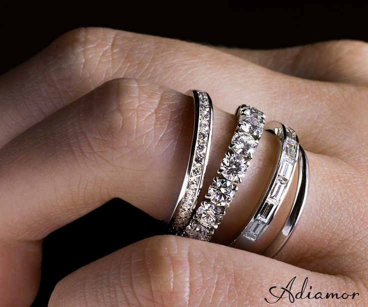 Love the look of the different eternity bands together. (engagement, wedding, milestone anniversary)