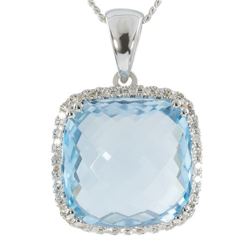 9ct White Gold Checkerboard Blue Topaz  Diamond Pendant only $321 - purejewels.com.au