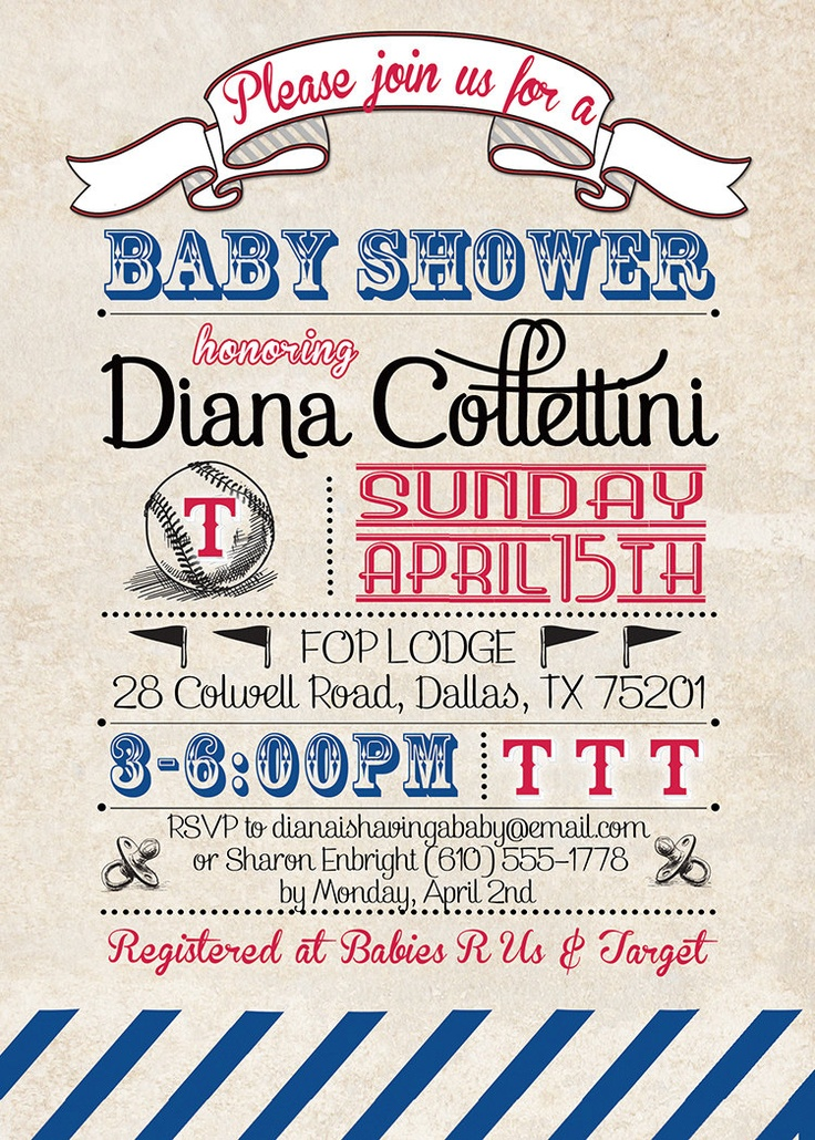 Texas Rangers Baby Shower Invitation Baseball Invitation Vintage Retro Baseball Baby Shower Boy Girl DIY Printable or Printed - Diana Style
