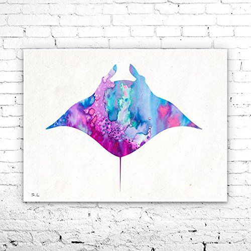 Manta ray 2 Watercolor Print, watercolor painting, watercolor art, Illustration, home decor wall art, Manta ray art, watercolor animal. Manta ray 2 Watercolor Print, watercolor painting, watercolor art, Illustration, home decor wall art, Manta ray art, watercolor animal, My prints are made in my own art studio by me, using Epson Pigment Inks, which are tested and guaranteed not to fade for at least 100+ years and fine art watercolor paper. I use Epson best wide format printers! If you are...