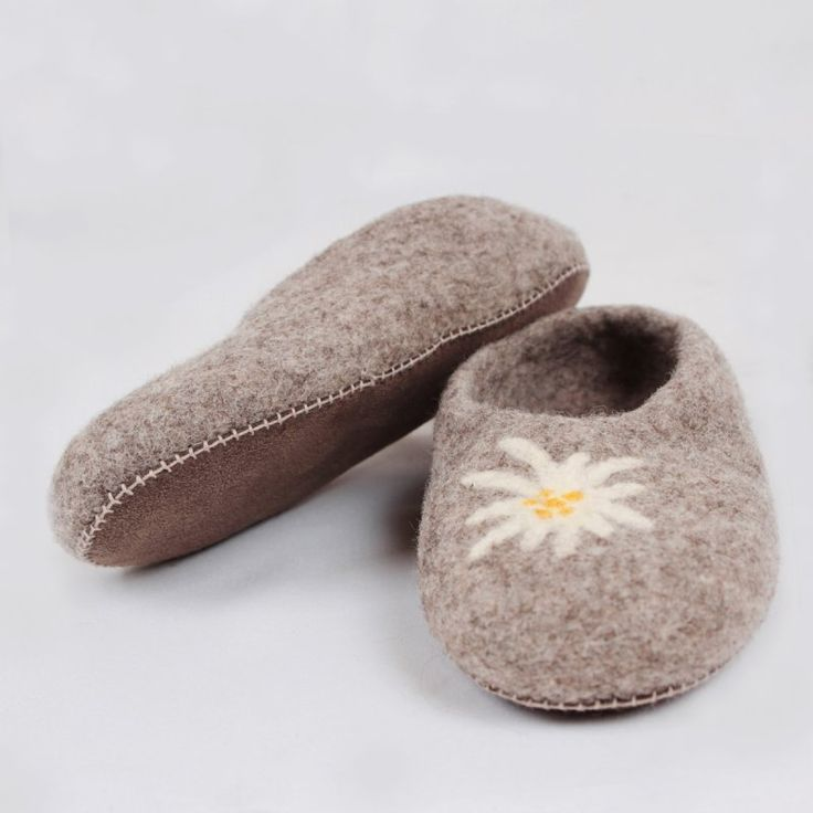 Edelweiss felted wool slippers. Women house shoes, very comfy and warm.  Leather soles