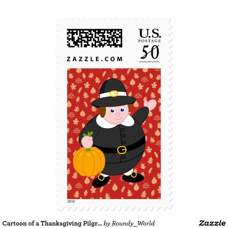 Cartoon of a Thanksgiving Pilgrim Father & pumpkin