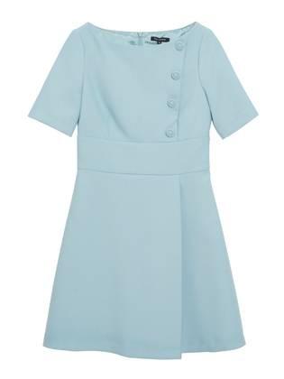 Robe pli portefeuille Turquoise - Tara Jarmon - Boutique en ligne TARA JARMON