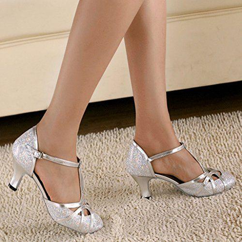 Minishion QJ6133 Womens Kitten Heel Silver Glitter Salsa Tango Ballroom Latin T-Strap Dance Sandals 10 M US