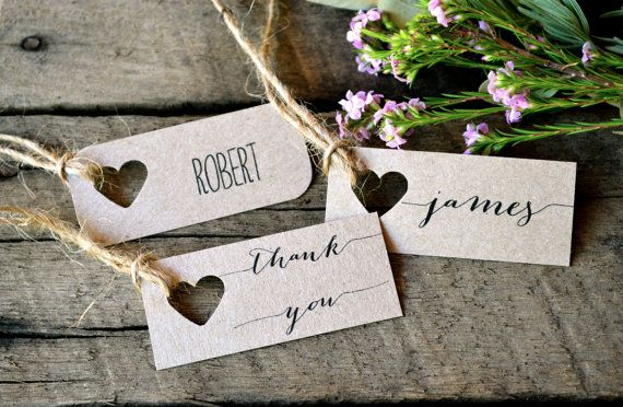 Specifications: La Pomme et la Pipes signature design rustic, unique and super chic heart name tags now come in Mini Size! Made from my trademark