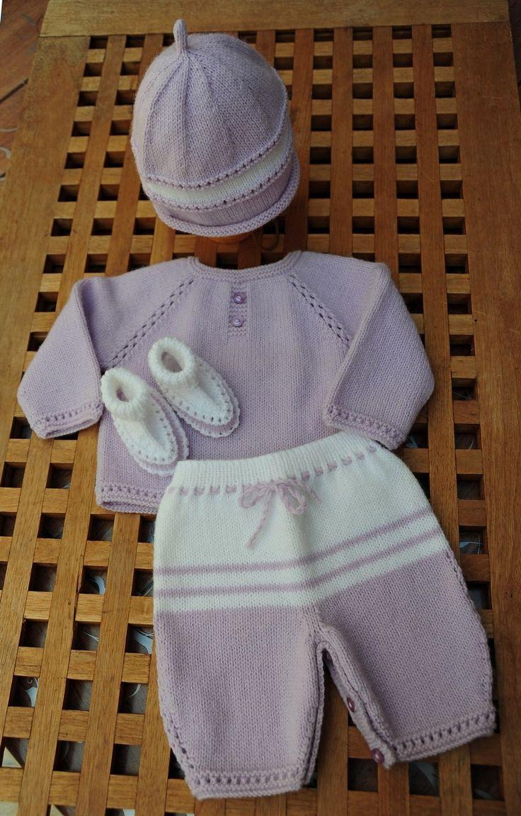 layette ensemble naissance neuf tricoté main brassière pantalon bonnet chaussons : Mode Bébé par com3pom