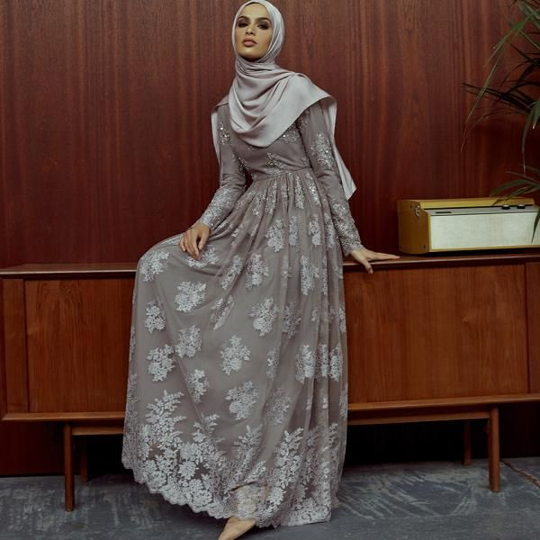 INAYAH | Mink Embellished Lace Gown www.inayah.co