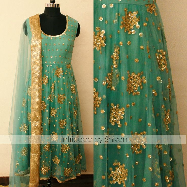 Mint blue  sequins  gown embroidered anarkali. Customization available.  For enquiry/order  shivani@intricado.com  Whatsapp:- +91 8527463626  16 May 2017
