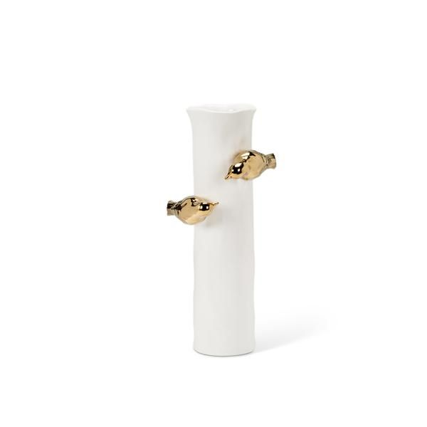 Our delicate Ivory free-form porcelain vase is adorned with charming gold birds.