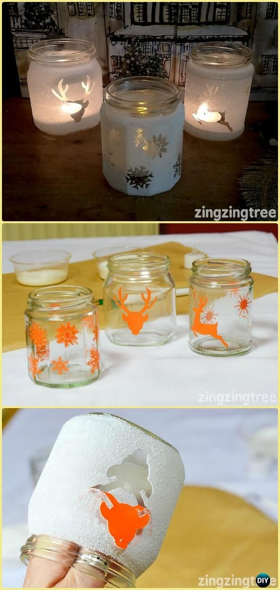 DIY Frosted Glass Jam Jar Luminaries Tutorial - Frosted Mason Jar Glass Container Craft Projects DIY Instructions