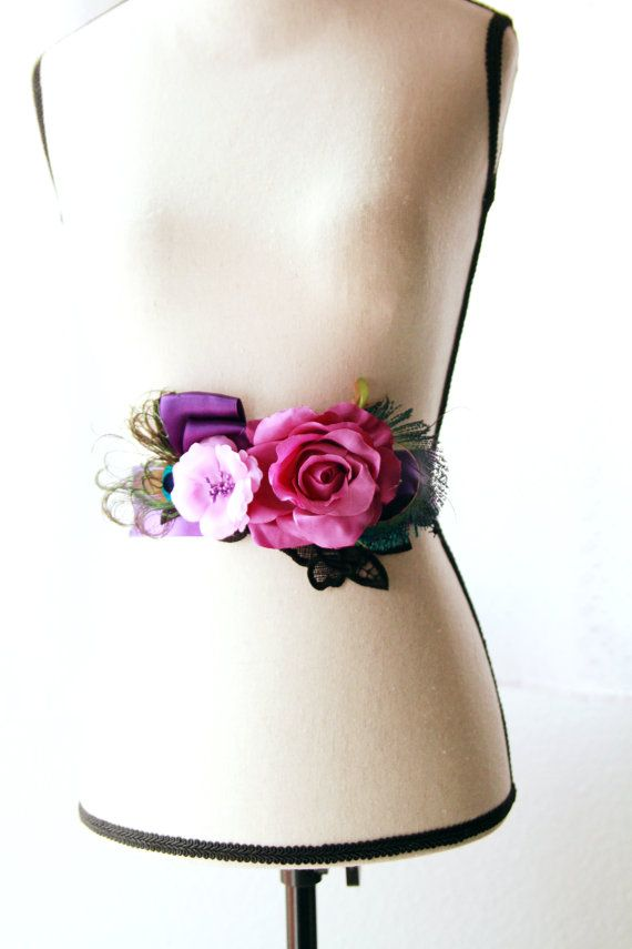 Peacock Feather Purple Flower Ribbon Sash Belt  by NAFEstudio