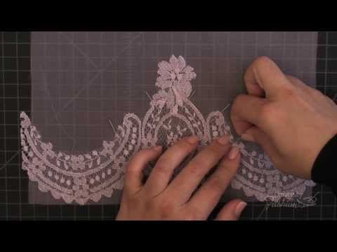 ▶ Sewing: How to make a lace applique on silk organza using blanket hand stitch technique - YouTube