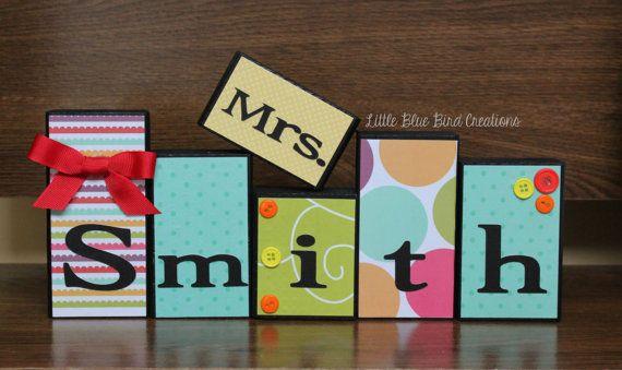 Teachers Name Wooden Block Set Custom Teacher gift Classroom decor personalized
