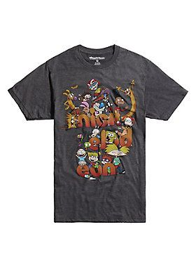 "Charcoal heather T-shirt from Nickelodeon featuring a retro logo design including characters from <i>Ren & Stimpy Show</i>, <i>Aaahh!!! Real Monsters</i>, <i>Hey Arnold!</i>, <i>SpongeBob Squarepants</i>, <i>Rocko's Modern Life</i>, <i>CatDog</i>, <i>Angry Beavers</i>, <i>Rugrats </i>and<i> Invader Zim</i>.<br><ul><li style=""list-style-position: inside !important; list-style-type: disc !important"">50% cotton; 50% polyester</li><li style=""list-style-position: inside !important; list-style..."