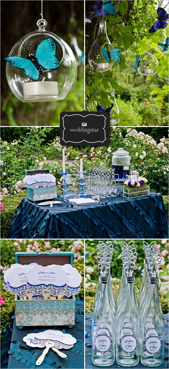 Wedding decore love the glass ball with a candle and purple butterfly?
