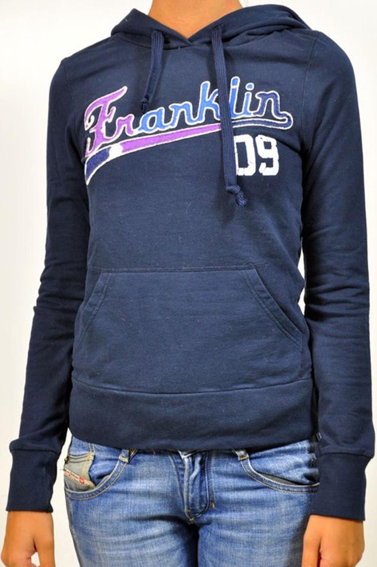 Felpa blu Franklin Marshall con scritta frontale, cappuccio e tasca