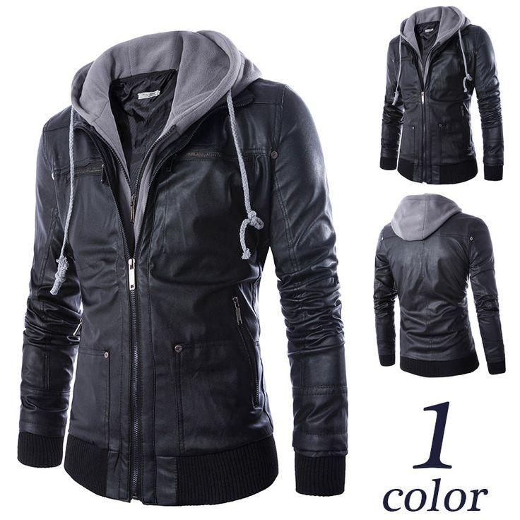 Motorcycle hooded leather jacket